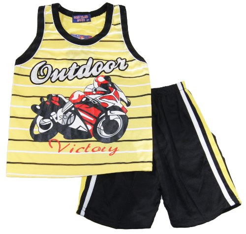 Coney Island Little Boys Racer Victory Yellow Tank Top & Shorts Active Set front-358875
