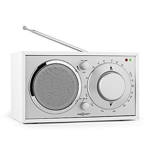 oneConcept Lausanne Nostalgie-Radio Retro Küchenradio Tragbares Radio (Bluetooth, UKW/MW-Sendertuner, Breitbandlautsprecher, AUX-Eingang, hochwertige Verarbeitung, Edles Holzfurnier) weiß