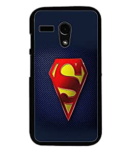 PrintDhaba Superman Logo D-2098 Back Case Cover for MOTOROLA MOTO G (Multi-Coloured)