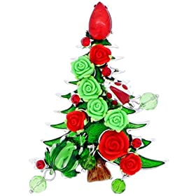 d51605f8a Red and Green Christmas Tree Pins Christmas Gift Austrian Crystal Brooches  Pins: Jewelry