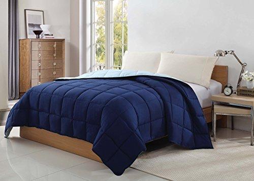 CARIBBEAN JOE Victoria Classics Reversible Blanket, Full, Navy/Slate by CARIBBEAN JOE
