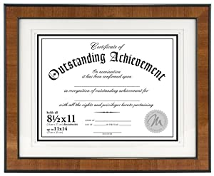 Malden International Designs Burl Wood Document Frame, Holds 8.5 by 11-Inch Certificate