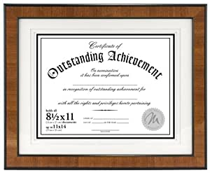 Malden International Designs Burl Wood Document Frame, Holds 8.5 by 11-Inch Certificate