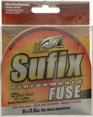 Sufix Performance Fuse Fishing Line, SMOKE/BLUE, 8 LB from SUFIX