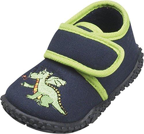 Playshoes - Hausschuh Drache, Pantofole A Casa infantile, Blu, 22/23