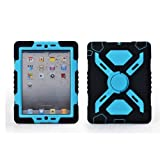 Hot Newest Ipad 2/3/4 Case Silicone Plastic Kid Proof Extreme Duty Dual Protective Back Cover with Kickstand and Sticker for Ipad 4/3/2 - Rainproof Sandproof Dust-proof Shockproof (Black/Blue)