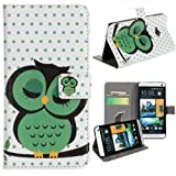 Vandot 2 in1 Accessory Set Leather Case Little Owl Flip Case Polka Dot Flower Stand Case for HTC One M7 with credit card Card Wallet hole Handmade Book Hybrid wallet Sweet Animals Cartoon + Luxury Bling Glitter Diamond Crystal Owl Animals anti-dust stopper plug – White Green by NYC Leather Factory Outlet