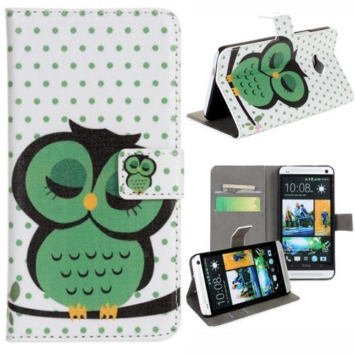Vandot 2 In1 Accessory Set Leather Case Little Owl Flip Case Polka Dot Flower Stand Case For Htc One M7 With Credit Card Card Wallet Hole Handmade Book Hybrid Wallet Sweet Animals Cartoon + Luxury Bling Glitter Diamond Crystal Owl Animals Anti-Dust Stoppe front-931496