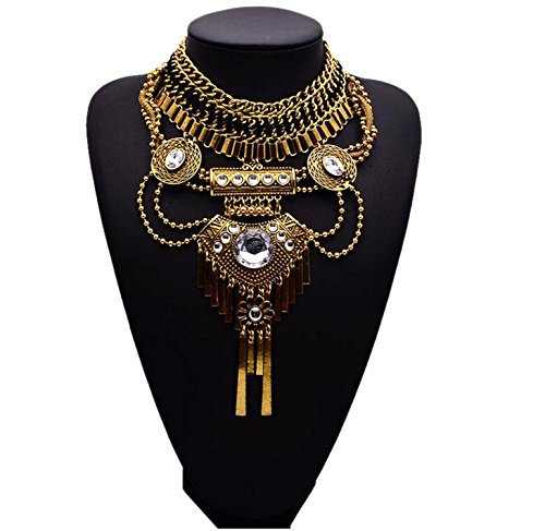 [Easting Luxury Cleopatra Big Crystal Jewelry Pendant Knit Chain Choker Chunky Statement Bib Necklace] (Cleopatra Outfit)