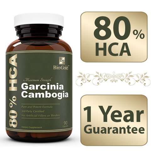 Biogold 100% Pure Garcinia Cambogia Extract With 80% Hca - Highest On Amazon- Proven Results With A One-Year 100% Money Back Guarantee.