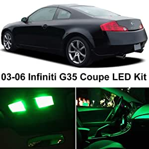 ledpartsnow infiniti g35 coupe 2003 2007 green premium led interior lights package. Black Bedroom Furniture Sets. Home Design Ideas