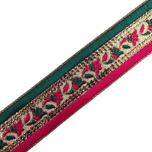 Pink Green Metallic Ribbon Trim Embroidered Border Lace Sequin Sewing Craft India 3Yd