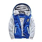 SemiAugust(セミオーガスト)メンズ 冬  厚いアウトウェアコートー ファッションジャケット ミクスカラーディザイン 男性用 カラーはブルー サイズはM
