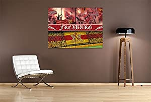 Ultras Freiburg, MDF-Holzbild im Bretterlook, Fußball Fan-Artikel, Wanddekoration, MDF-Holzbild im Bretterlook Format: 80x60cm, Wanddekoration
