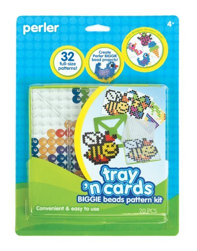 Includes 32 Full-Size Patterns - Perler Fused Bead Pattern Kit, Biggie Bead Tray 'n Cards
