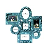 7 Photo Collage Frame in Blue Antique Finish