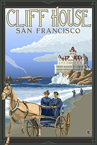 Cliff House San Francisco (9x12 Art Print, Wall Decor Travel Poster) (Cliff House Poster compare prices)