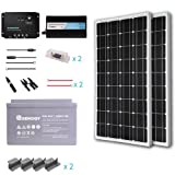 Renogy 200 Watts 12 Volt Complete Solar Panel kit Monocrystalline with Charge Controller +Mounts+ 100AH AGM Battery+ 500W Pure Sine Wave Inverter (Tamaño: 200w)