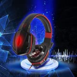 JVR® MI35R Stereo Headphone Headset 3.5mm With Mic Microphone LED Light Inline Volume Control Heavy Duty Braided...