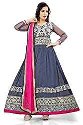 Priyanshu Creation Women's Net Gray Dress Material