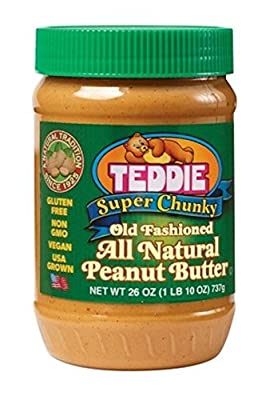 Teddie All Natural Peanut Butter, Super Chunky, 26-Ounce Jar (Pack of 3) by Teddie