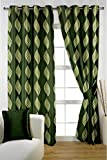 HOMEC Decorous Jacquard Curtain Set of 2 (Size - Window 46 X 60 inch/Color - Green)
