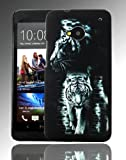 PointH HTC One M7 Printed Hard Shell Stylish Back Protection Case Cover Clip On Protection - Black Tiger Design