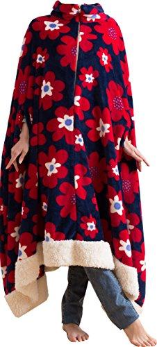 mofua モフア プレミアム マイクロファイバー 着る 毛布(ポンチョタイプ) フリー 花柄 ネイビー 50066607