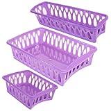 Set of 3 Mini Plastic Organizer Baskets in Assorted Shapes (PURPLE)