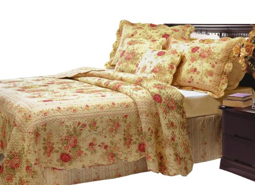 Great Deal! Greenland Home Antique Rose Full/Queen Quilt Set