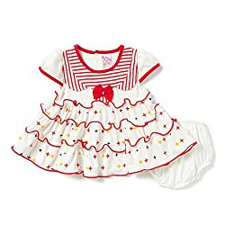 Camey Girls Star Frock Set (RED, 18-24 Months)