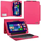 Evecase® 2-in-1 Leather Keyboard Portfolio Stand Case Cover for ASUS Transformer Book T100 / T100TA-C1-GR 10.1-Inch Convertible Touchscreen Laptop Tablet ( Hot Pink)