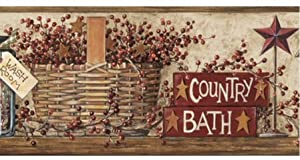 Country Bath With Outhouses Wallpaper Border Bathroom Wall Border