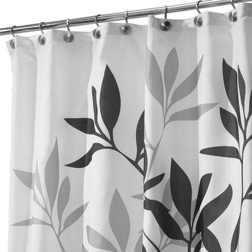 interdesign leaves fabric shower curtain black gray white home garden bathroom accessories curtains. Black Bedroom Furniture Sets. Home Design Ideas