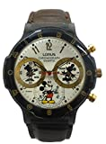 Lorus' Disney's Mickey Mouse Sports Chronograph with 3 Sub-Dials,Brown Leather Band