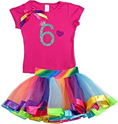 Bubblegum Divas Big Girls\' 6th Birthday Rainbow Tutu Outfit 6X