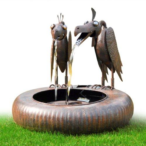 Fontaine de jardin Jeu d'eau usage intérieur extérieur en métal Couple vautour