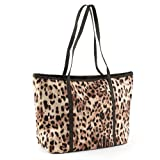 Large Leopard Print Shopper Bag Brown