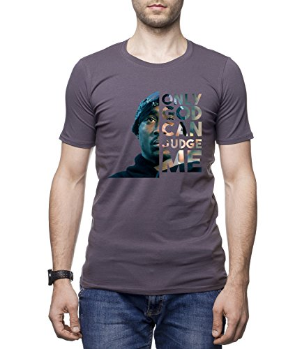ONLY GOD CAN JUDGE ME - TUPAC Men's Men's CLIVE Crew Neck Tshirt Grigio Large