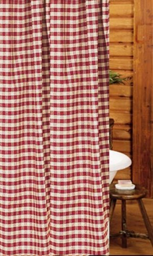 Shower Curtain   Heritage House Barn Red Check   Primitive Country Rustic  Fabric Bath