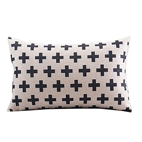 "Create For-Life Cotton Linen Decorative Pillowcase Throw Pillow Cushion Cover Cross Pattern Rectangle 12"" * 20"""