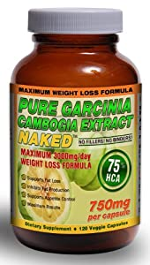 """75% HCA PURE GARCINIA CAMBOGIA EXTRACT NAKEDâ""""¢   3000mg/day - 750mg/Veggie Cap   120 Capsules. Caution: This is the Maximum Daily Dosage for Weight Loss and has the Maximum amount of HCA (75%) per capsule! Use only as directed. Strongest Garcinia Cambogi"""
