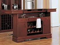 Hot Sale Coaster Traditional Cherry Finish Bar Unit w/Wine Rack Sink Drawers