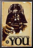 Framed Star Wars - The Empire Needs You 24x36 Poster in Silver finish Wood Frame