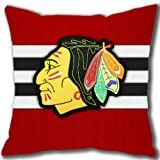Head-Sweater Chicago Blackhawks Custom Cotton Pillowcase, Square Pillowcase with Invisible Zipper Designed by Micase at Amazon.com