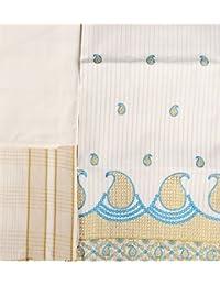 Exotic India Kasavu Salwar Kameez Fabric From Kerala With Embroidered Paisleys