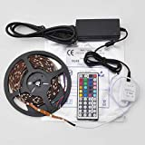 Lycheers 16.4 Ft RGB Color Changing Kit with LED Flexible Strip, waterproof, 44 Button Controller + Remote and 12 Volt Power Supply Lights Lighting ideal for Chrismas, Party, Indoor/ Outdoor decoration