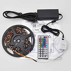 Lycheers 5M LED Strip 16.4 Feet RGB Color Changing Kit with LED Flexible Strip, SMD 5050, waterproof, 44 Button Remote Controller + 12 Volt Power Supply 3M tape Lights Lighting ideal for X'mas Chrismas, Party, Indoor/ Outdoor decoration