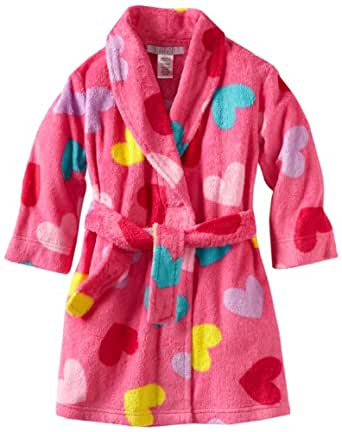 Komar Big Girls'  Multi Tossed Heart Robe, Pink, 7/8