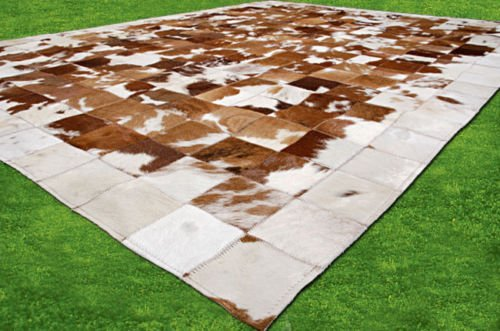 New Cowhide Rug Leather. Animal Skin Patchwork Area Carpet (4 x 6)
